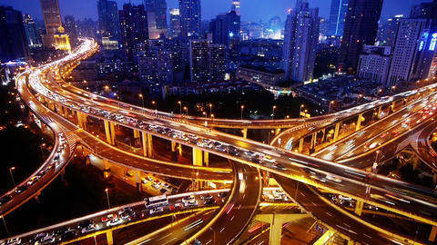 Time lapse,traffic lights trail & vehicles on shanghai overpass bridge at ni Animation