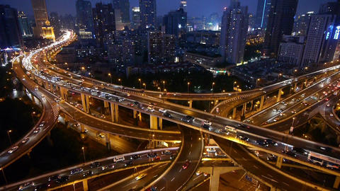 shanghai traffic & vehicles moving on Overpass interchange at night Animation