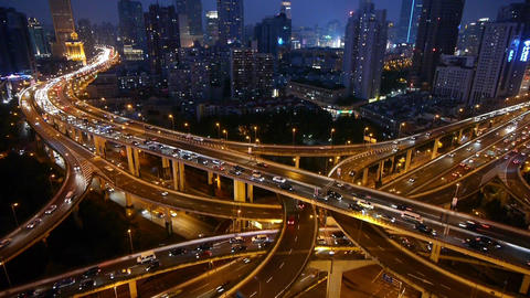 shanghai traffic & vehicles moving on Overpass... Stock Video Footage
