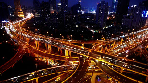 Shanghai Night Aerial View Car Traffic Jam on overpass... Stock Video Footage