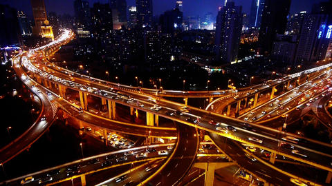 Shanghai Night Aerial View Car Traffic Jam on overpass Interchange Animation