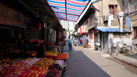 Typical Chinese old town street,shanghai shopping... Stock Video Footage