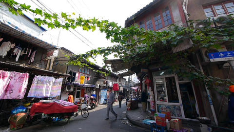 Typical Chinese old town street,shanghai traditional... Stock Video Footage