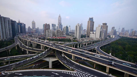 heavy traffic on highway interchange,Aerial View of Shanghai Skyline Animation