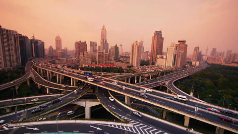 time lapse,heavy traffic on highway interchange,Aerial View of Shanghai Skyline Animation