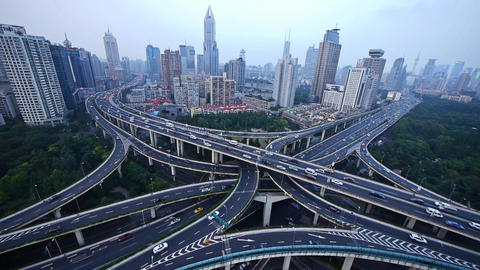 heavy traffic on highway interchange,Aerial View of... Stock Video Footage