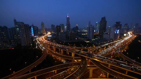 traffic lights trail on overpass bridge at night,shanghai... Stock Video Footage
