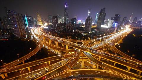 traffic lights trail on overpass bridge at night,modern... Stock Video Footage