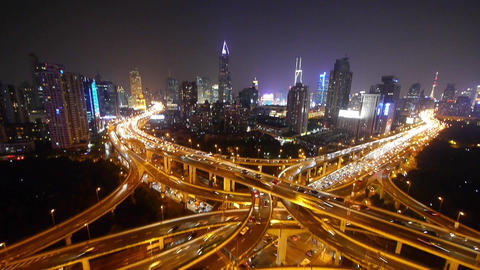 traffic lights trail on overpass at night,modern... Stock Video Footage