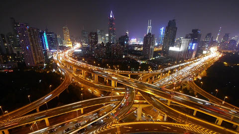Aerial View of freeway busy city rush hour heavy traffic... Stock Video Footage
