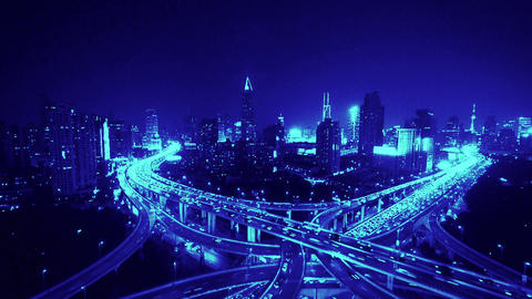 time lapse of freeway busy city rush hour heavy traffic jam highway at night Animation