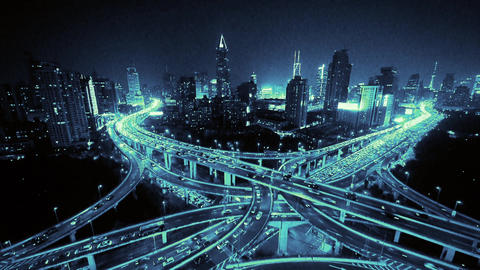 Aerial View of freeway busy city rush hour heavy traffic jam highway at night Animation