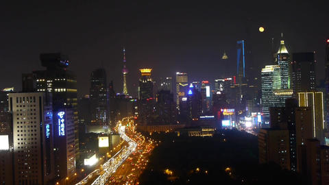 time lapse,busy city rush hour heavy traffic jam,shanghai... Stock Video Footage