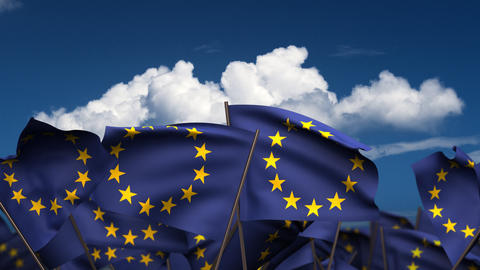 Waving Europe Flags Stock Video Footage