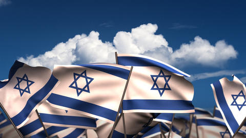 Waving Israeli Flags Stock Video Footage