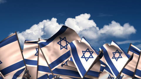 Waving Israeli Flags Animation