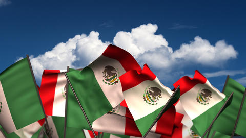 Waving Mexican Flags Animation