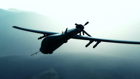 Predator Drone in Action Sunset Sunrise 2 Stock Video Footage
