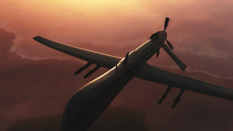Predator Drone in Action Sunset Sunrise 4 Animation
