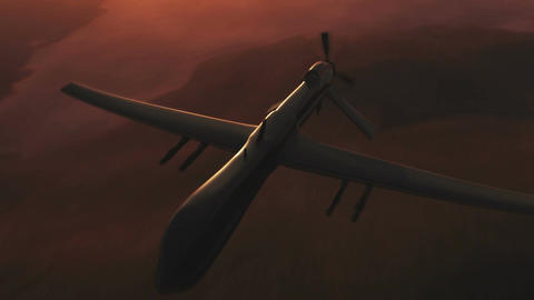 Predator Drone in Action Sunset Sunrise 4 Stock Video Footage