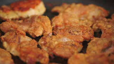 Pan Fried Chicken Closeup Stock Video Footage