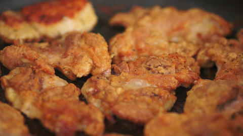 Pan Fried Chicken Closeup stock footage