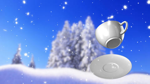 New Year,christmas,winter background and cup coffe Animation