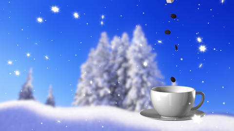 New Year,christmas,winter background and cup coffe Stock Video Footage