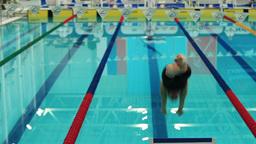 swimmer on start Stock Video Footage