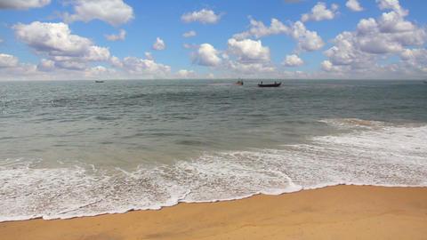 fisherman boats in sea - Kerala India Stock Video Footage