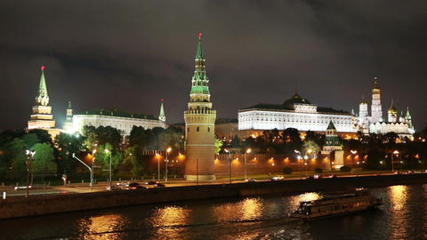 Moscow Kremlin and river at night - Russia Footage