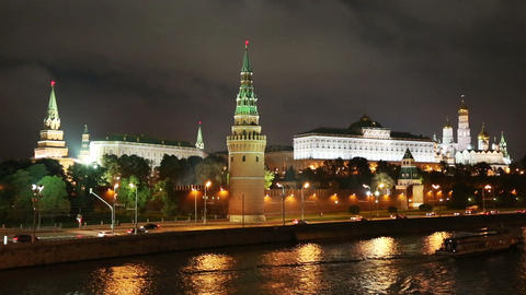 Moscow Kremlin and river at night - Russia Stock Video Footage