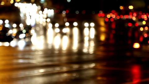 defocused evening car traffic at rush hour Stock Video Footage