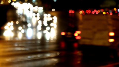 defocused evening car traffic at rush hour Stock Video Footage
