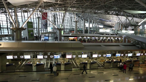 Vnukovo airport terminal interior in Moscow Russia Stock Video Footage