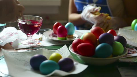 Coloring easter eggs Stock Video Footage