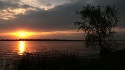 sunset on the river - timelapse Stock Video Footage