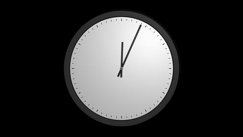 animation white clock with alpha Stock Video Footage
