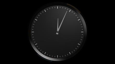 black clock timelapse with alpha Stock Video Footage