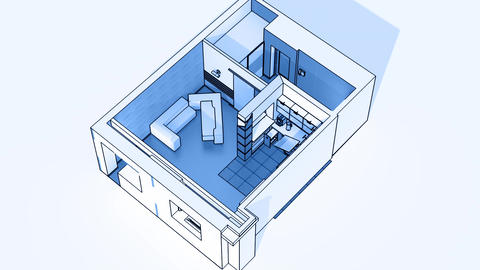 Interior creation, wireframe Animation