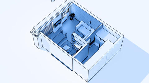 Interior creation, wireframe Stock Video Footage