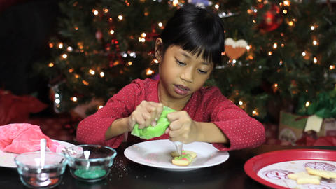 Christmas Snowman Cookie Gets Green Icing Footage