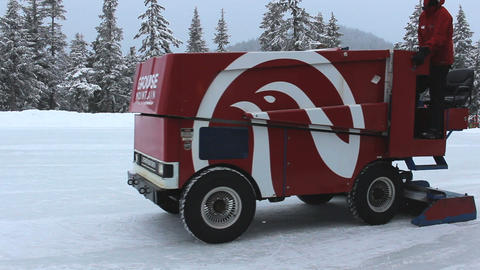Mountain Zamboni Cleaning Outdoor Skating Rink Stock Video Footage