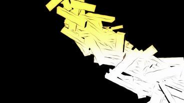Abstract modern art flying matrix stick,cube box debris rubble background Animation