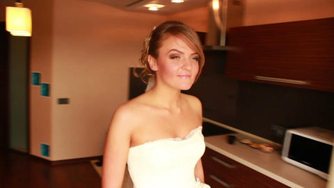 Bride Goes to Window 1 Stock Video Footage