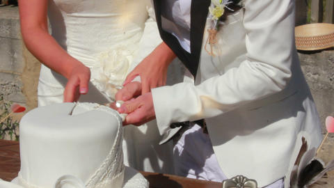 Newlyweds and Cake Stock Video Footage