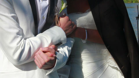 Newlyweds Holding Hands Stock Video Footage