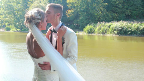 Newlyweds Kissing Footage