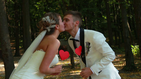 Newlyweds Kissing Stock Video Footage