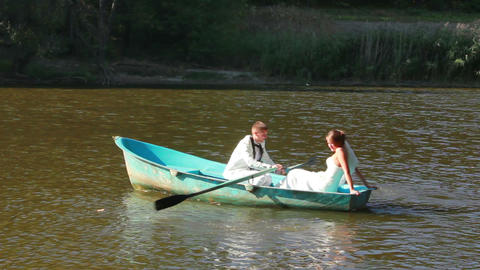 Newlyweds On Boat stock footage